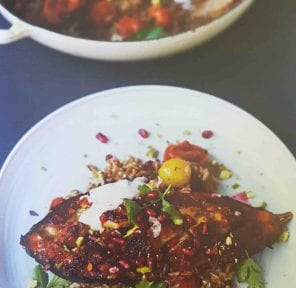 Harissa Roasted Aubergine with Pomegranate, Pistachios, Olives & Rice